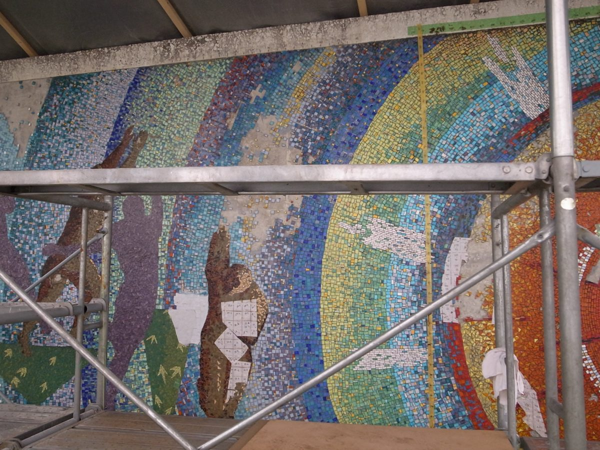 ガラスモザイク壁画修復工事事例