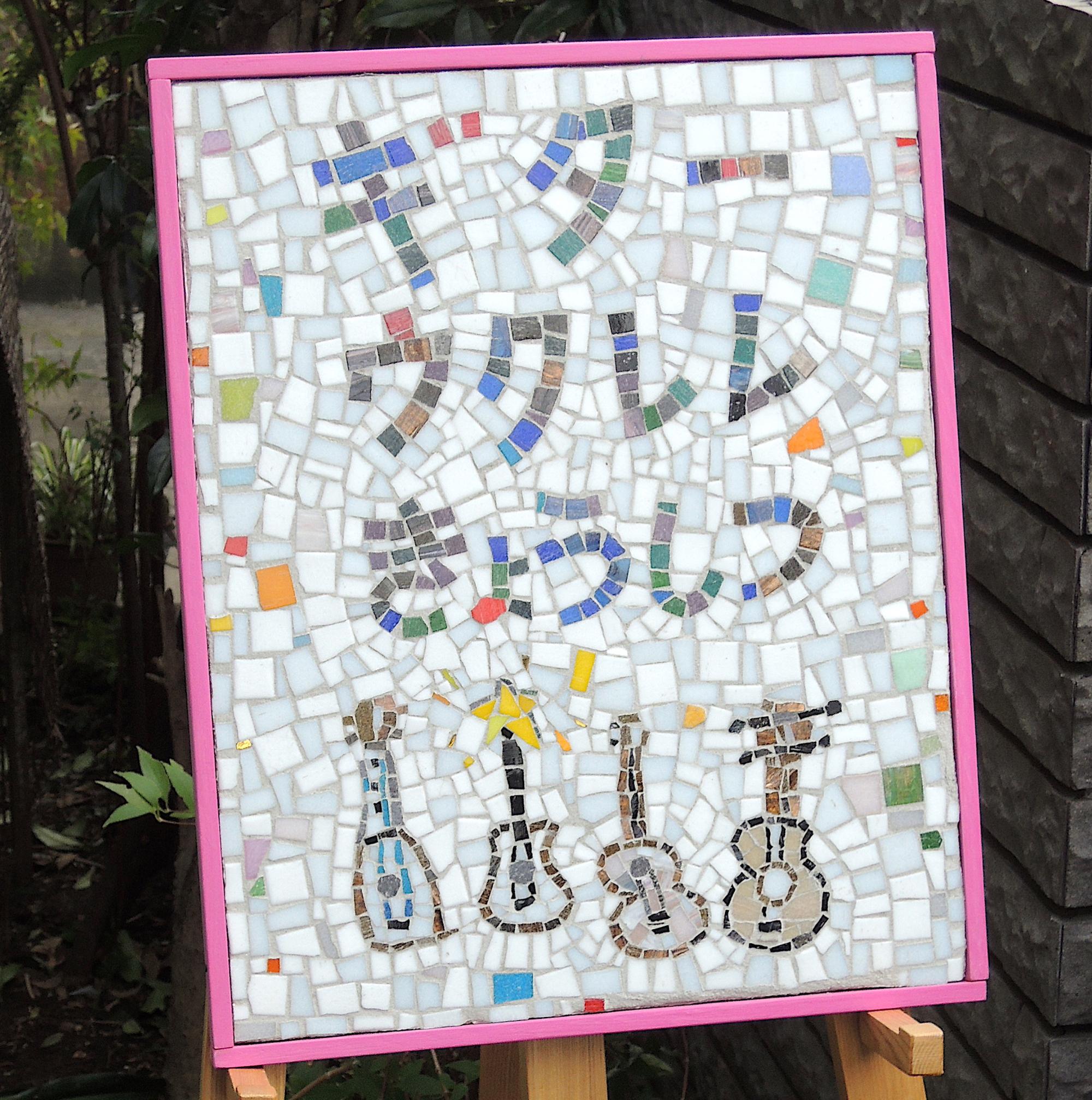 ギター教室看板は子どもの絵から