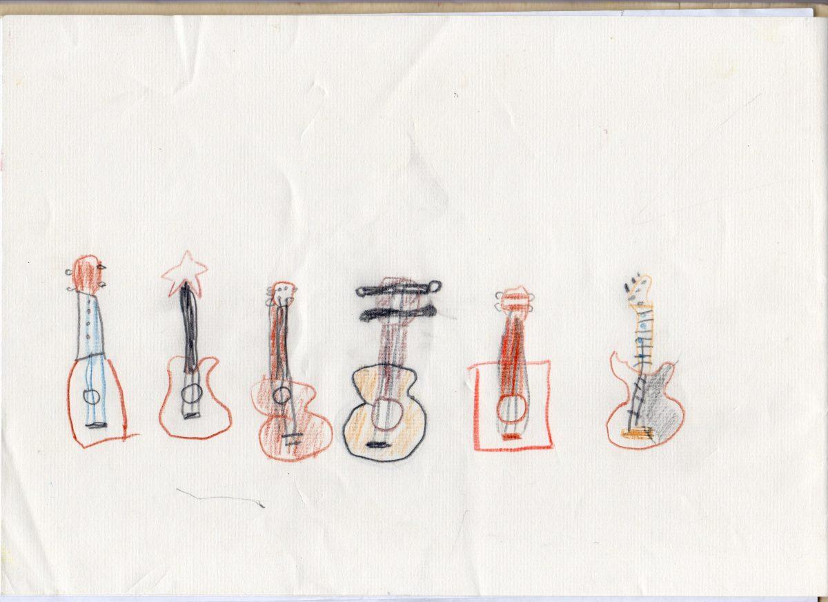 ギター教室看板原画子どもの絵