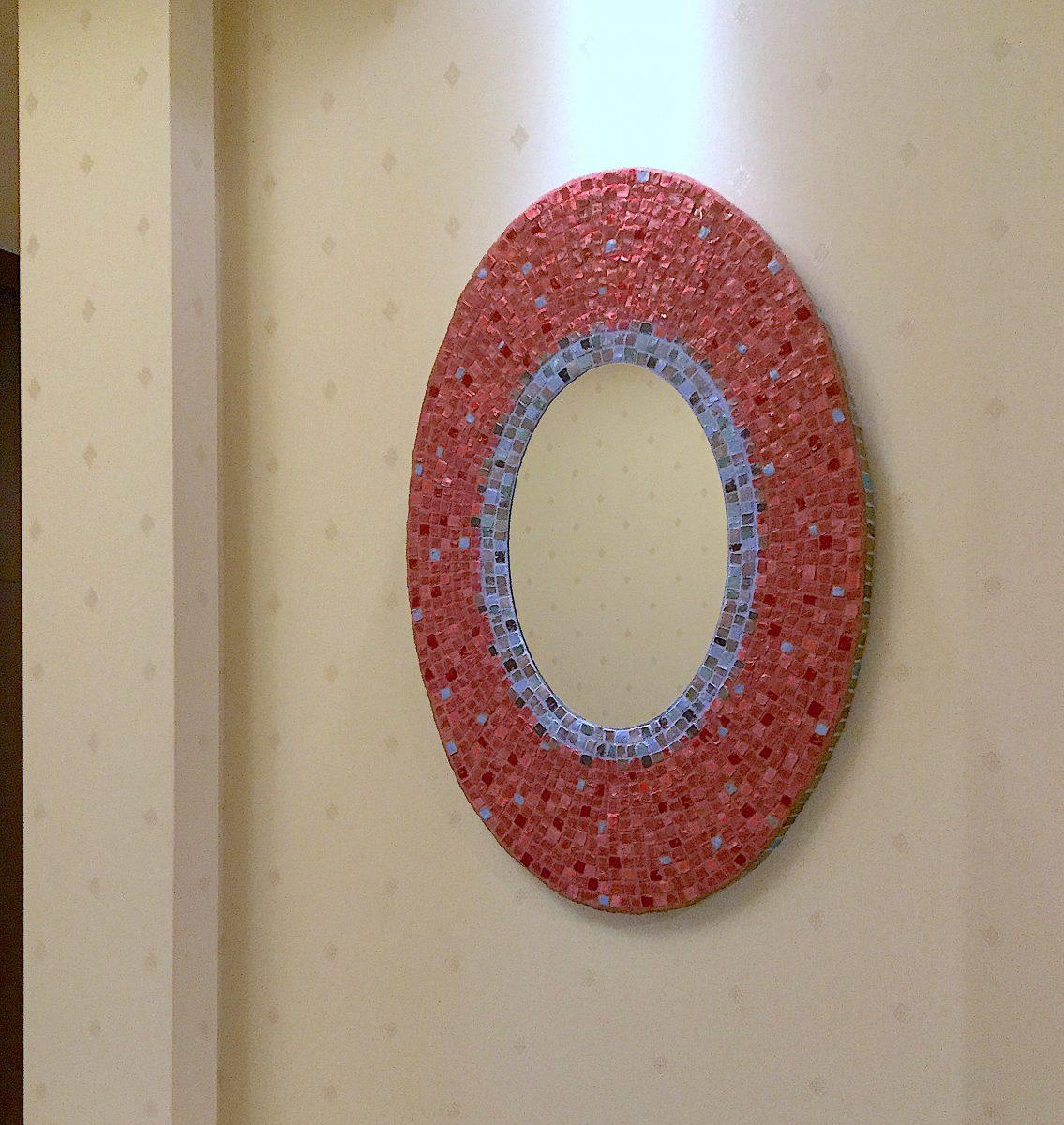 王道壁飾り 装飾ミラー楕円形 モザイクアート制作 岡田七歩美