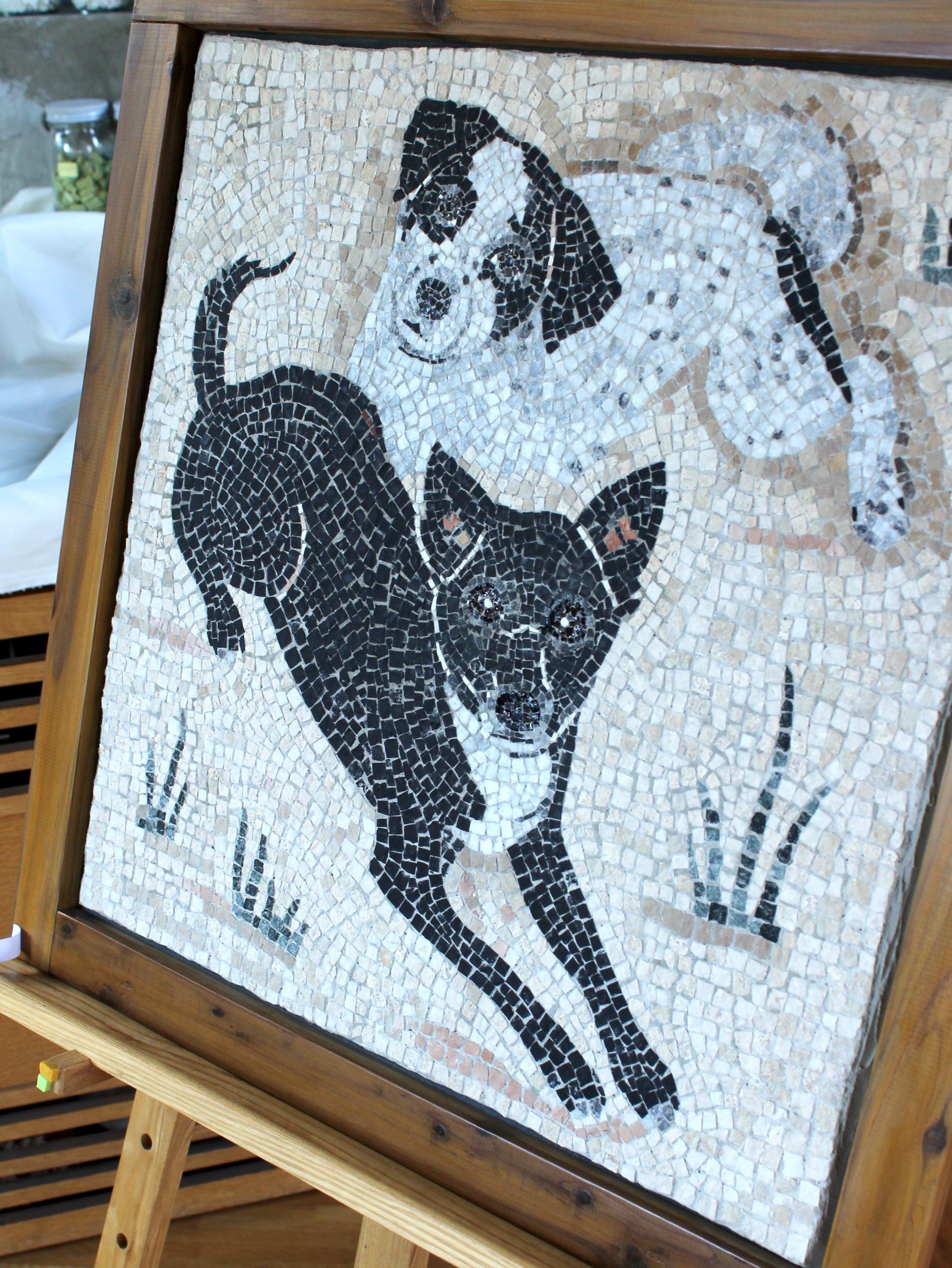 二匹の犬・モザイクアート肖像画
