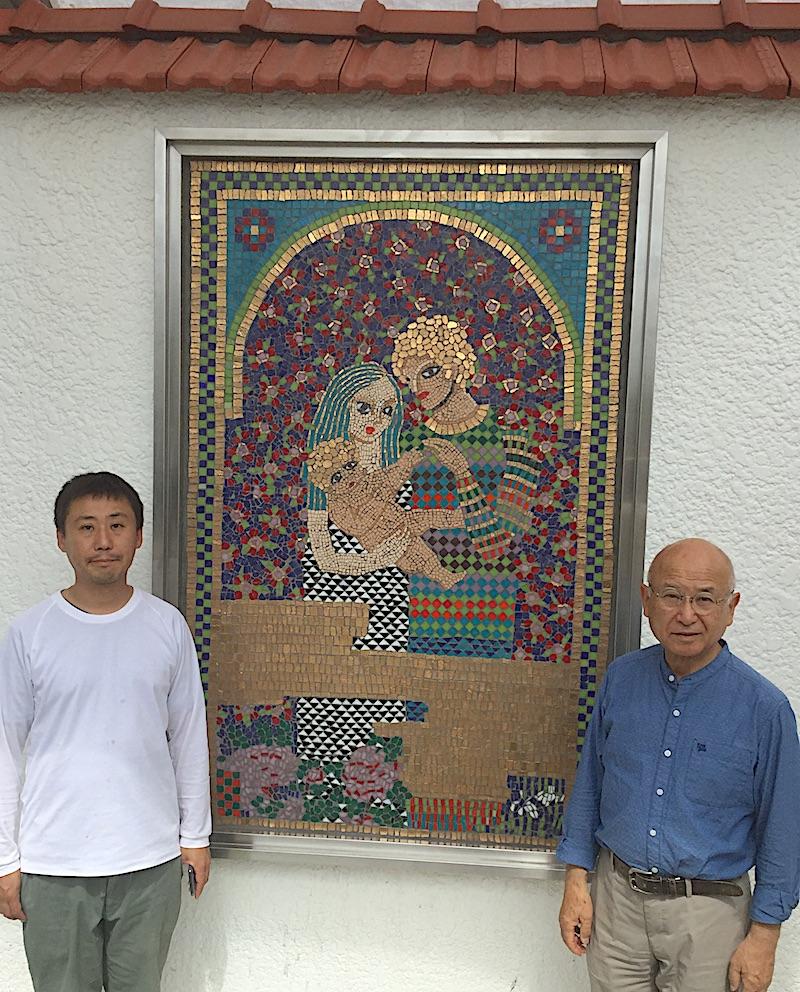 ガラスモザイク壁画修復完成 2019年7月 大理石モザイク 上哲夫先生 上周平氏