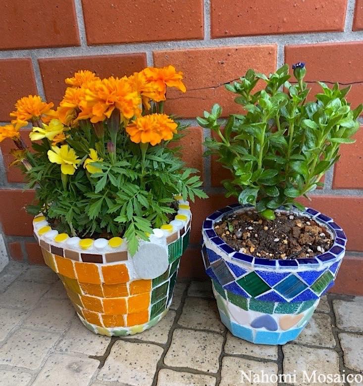 植木鉢モザイクアート