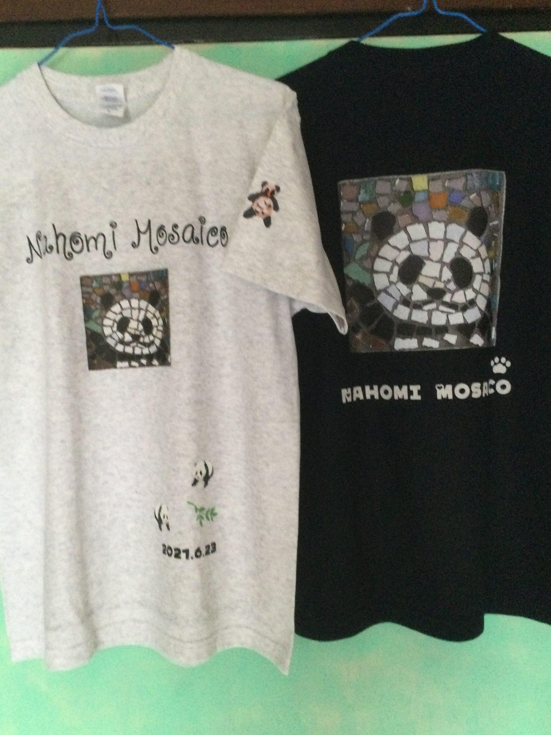 双子パンダ誕生記念Tシャツ 七歩美モザイコオリジナル